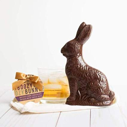 whiskey dark chocolate bunny
