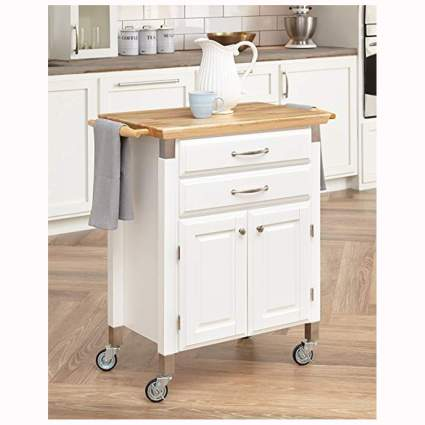 white rolling kitchen cart with bamboo top