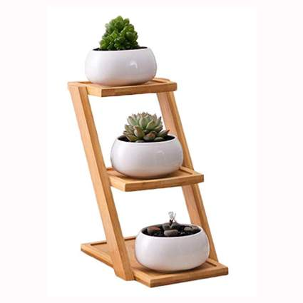 white ceramic succulent pots on three tiered stand