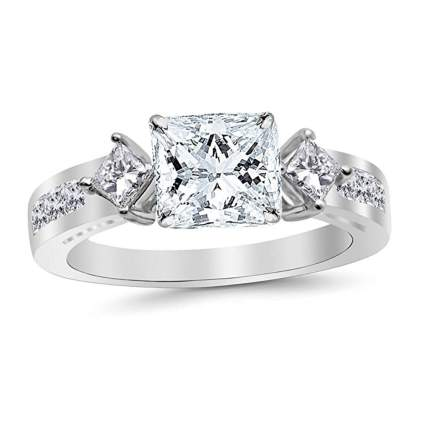 platinum and princes cut diamond three stone ring