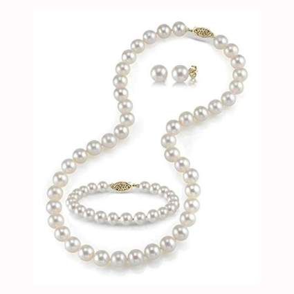 cultured pearl bracelet necklace and earrings set