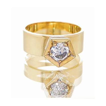 14k gold and diamond statement ring