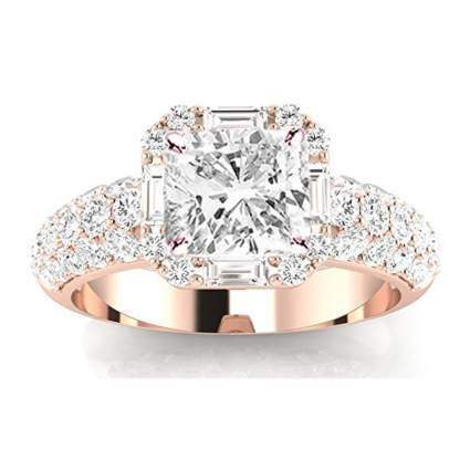 rose gold princess cut diamond halo ring