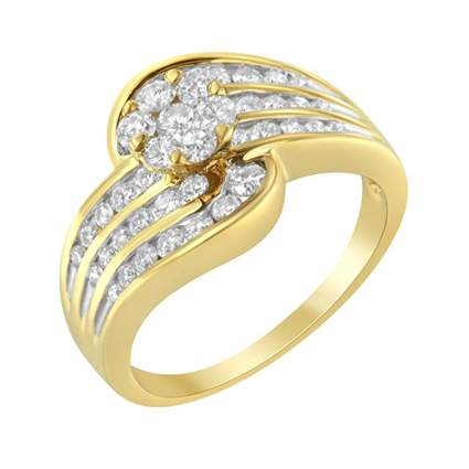 yellow gold and diamond bypass cocktail ring