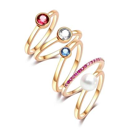 18k gold plated crystal knuckle rings