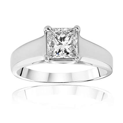 princess cut platinum diamond solitaire ring