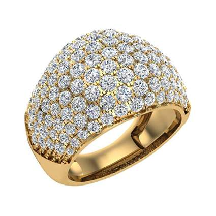 yellow gold diamond dome ring