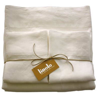 Linoto 100% Linen Sheets Bed Sheet Set Queen Ivory 4 Piece