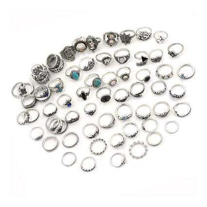 66 piece silver tone knuckle ring set