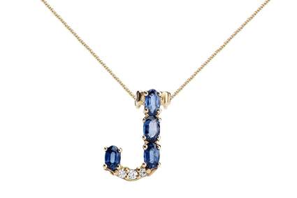 Albert Hern Blue Sapphire Necklace with Diamonds
