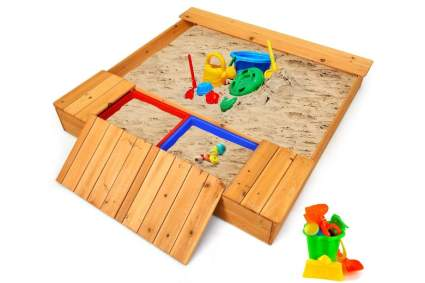 Costzon Kids Wooden Sandbox with Bench Seats and Storage Boxes