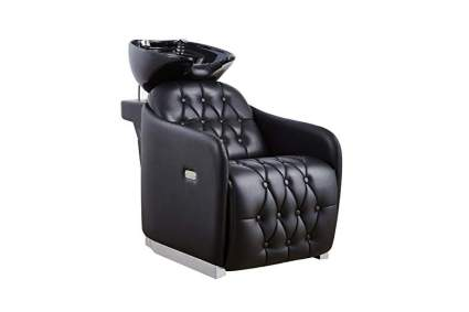 Black shampoo chair for salon with sink