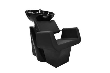 Blocky black chair with black sink