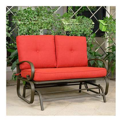 Red pation loveseat