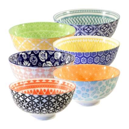 Colorful set of six bowls