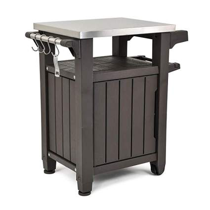 Brown prep cart for patio