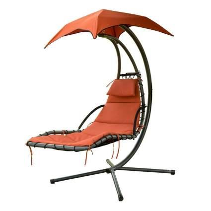orange hanging patio chair