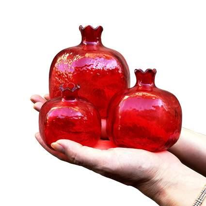 red glass pomegranates