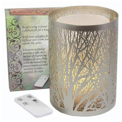 Silver forest candle holder