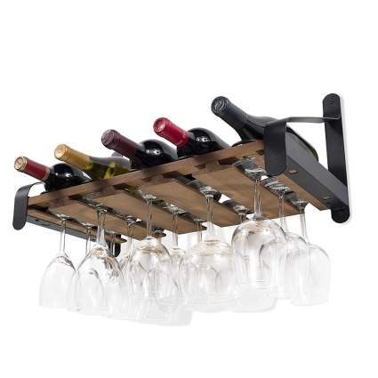 Wall-mounted wine holder