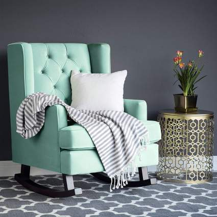 Best Choice Products Tufted Upholstered Wingback Rocking Accent Chair