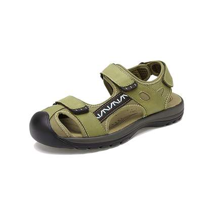 green hiking sandals