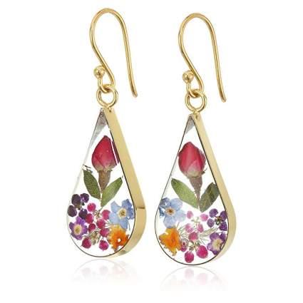 teardrop earrings with flowers in them