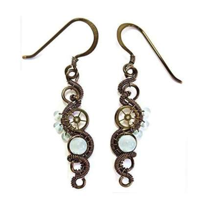 aquamarine and bronze woven steampunk earrings
