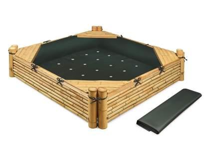 Badger Basket Bamboo Beach Sandbox with Liner & Cover Sandbox