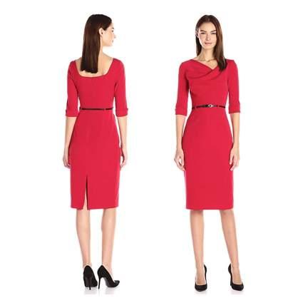 red 3/4 sleeve jackie o dress
