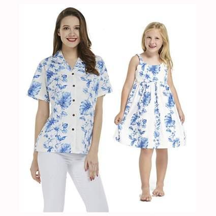 hawaiian print shirt and matching girl's dress