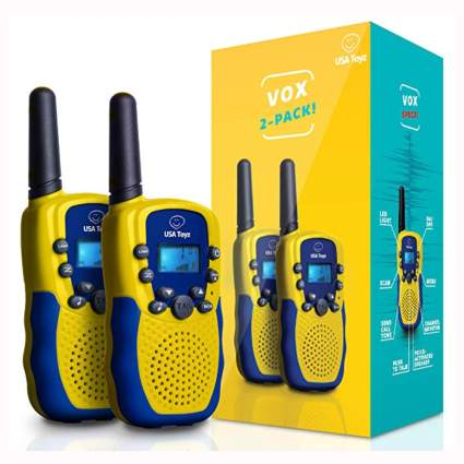 blue and yellow walkie talkies