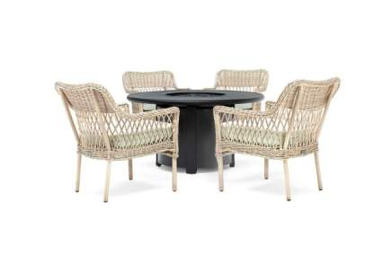 Blue Oak Vesta Fire Pit Table Chat Set with Colfax Lounge Chairs
