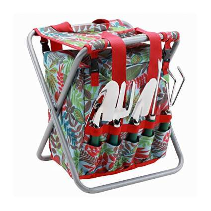 red and green garden tool set with stool