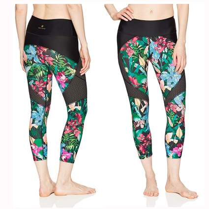 tropical print and mesh surf capri leggings