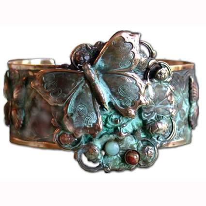 brass burtterflies and flowers cuff bracelet