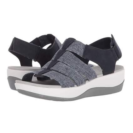 navy and white stretch strap platform sandals