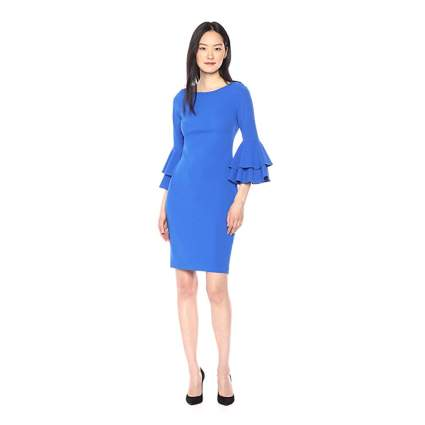 blue tiered bell sleeve dress