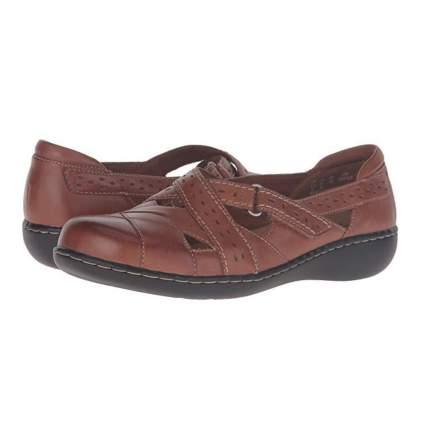 brown leather slip on loafer
