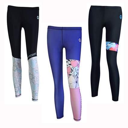 color block uv protection swim tights