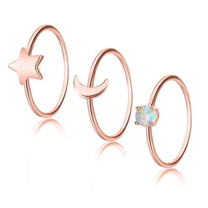 copper and opal midi ring set