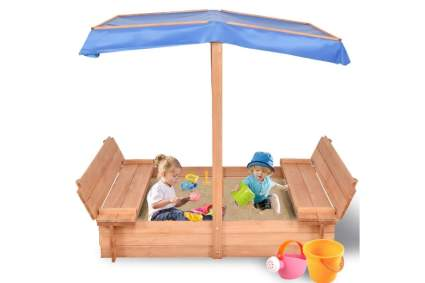 Costzon Kids Foldable Cabana Sandbox