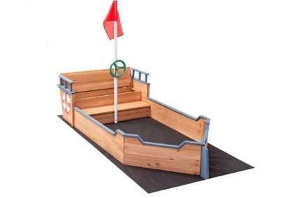 Costzon Pirate Boat Wood Sandbox
