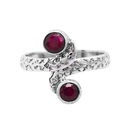 created ruby and sterling silver midi ring