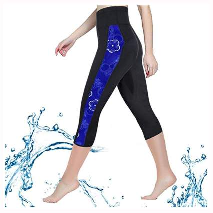 blue and black neoprene capri leggings