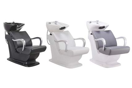 three colors of salon sink chairs