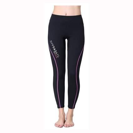 black and purple neoprene swim tights
