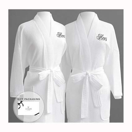 white Egyptian cotton spa robe set