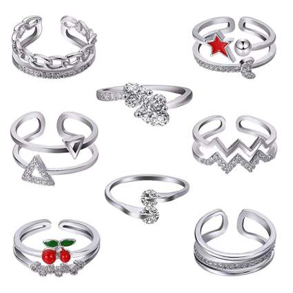 eight piece adjustable open knuckle ring set