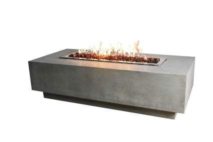 Elementi Granville Bowl 60 X 27 Concrete Natural Gas Includes Burner Lava Rock Fire Pit Table
